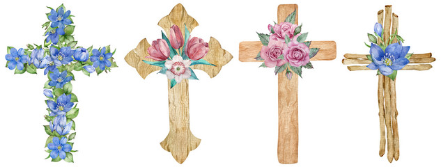 Watercolor set of wooden and floral crosses decorated with first spring flowers isolated on the white background. Fototapete