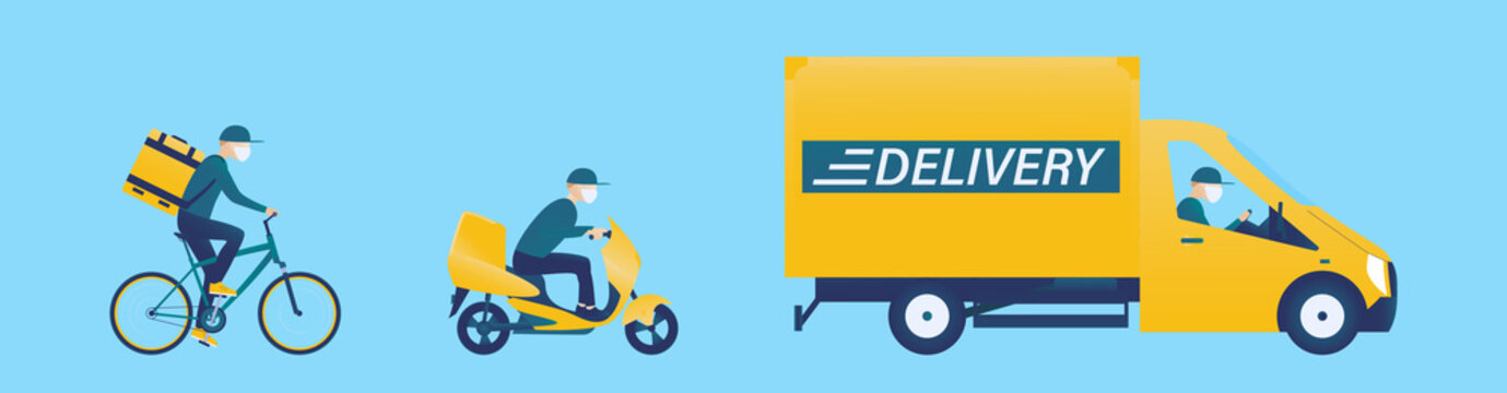 Online order and food or product express delivery concept.