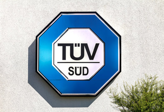 Schwabach, Germany : vehicle inspection point of TÜV SUD. TÜV is one of the world's leading testing service providers.