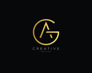 Fototapeta Letter GA AG Logo Design, Creative Minimal GA AG Monogram In Gold Color obraz