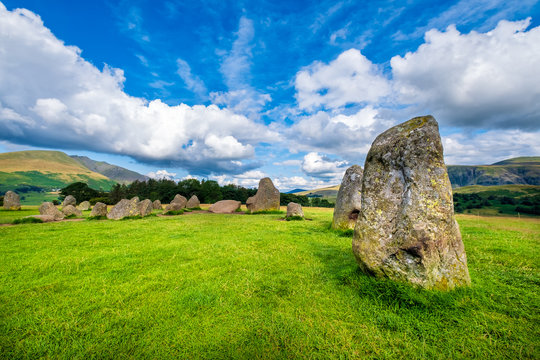 The ancient Castlerigg stone circle at the Lake District in England
