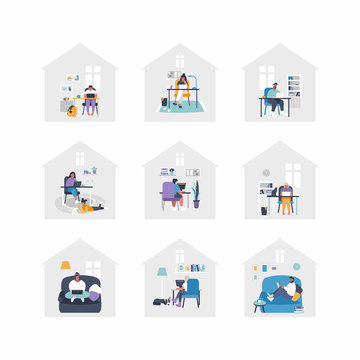 Set of flat vector illustrations - people are working from home with laptops, PC at table, at sofa. Home office concept - people are working from home. Remote job during isolation.