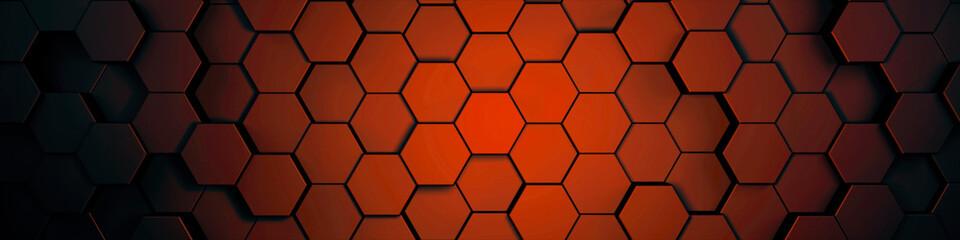 Wall Mural - hexagons orange, background texture, 3d illustration, 3d rendering