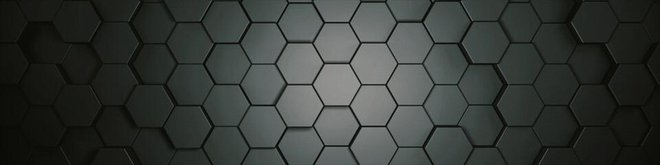 Wall Mural - hexagons grey, background texture, 3d illustration, 3d rendering