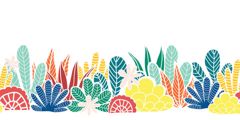 Abstract plants collage seamless vector border. Modern cactus and leave shapes repeating pattern red blue teal lime green yellow orange white. Abstract summer plants. For letter decor, footer, cards Wall mural