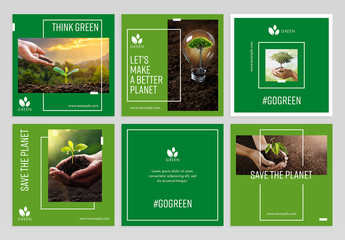 Social Media Post Layout Set with Green Accents