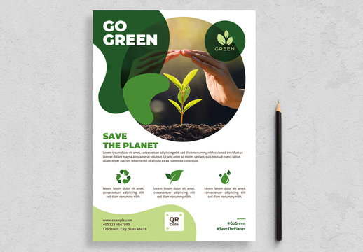 Environmental Flyer Layout with Green Accents