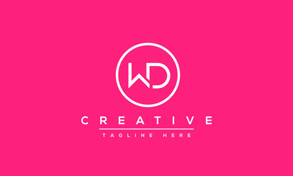 WD Logo Design Abstract Vector monogram. Modern creative icon letters W D.