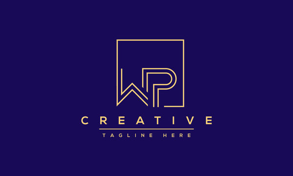 WP Logo Design Abstract Vector monogram. Modern creative icon letters W P.
