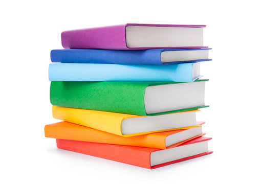 Stack of colorful books isolated on white background. Collection of different books. Hardback books for reading. Back to school and education learning concept