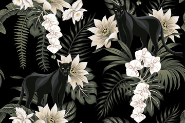 Tropical vintage black panther animal, white lotus flower, white orchid, palm leaves floral seamless pattern black background. Exotic jungle wallpaper.