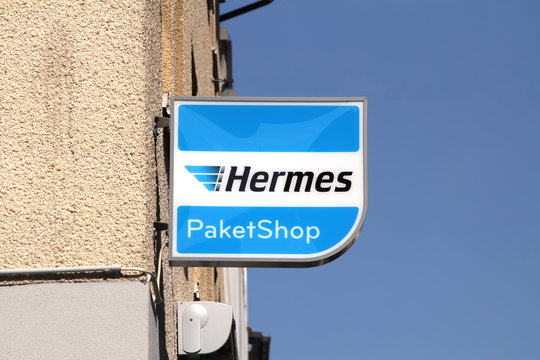Ansbach, GERMANY : Hermes logo on on a pole, Hermes is Germany's largest post-independent logistics service provider for deliveries to private customers
