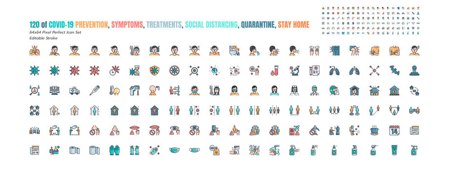 Simple Set of Covid-19 Prevention Filled Outline Icons. such Icons as Protective, Coronavirus, Social Distancing, Symptoms, Quarantine, Stay at Home, Hand Washing 64x64 Pixel Perfect. Editable Stroke.