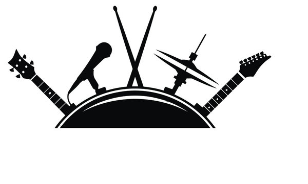 Vector illustration of silhouette the drum set,guitar,mice,sticks on white background