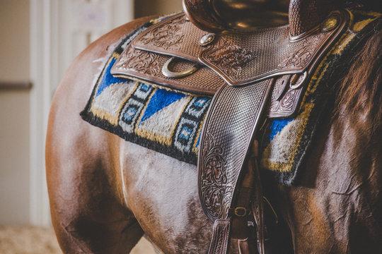 Close up on western horse saddle