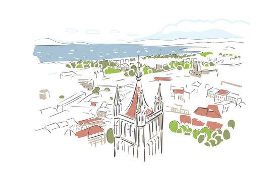 Lausanne Switzerland Europe vector sketch city illustration line art