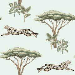 Vintage wyspa sawanny, roślina, drzewo akacji, gepard działa dzikiej przyrody zwierząt kwiatowy wzór niebieski. Tapeta egzotycznego safari. - 335418744