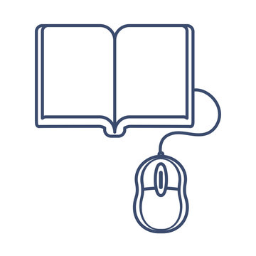 book and computer mouse, online education, line style icon