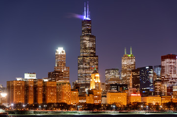 Wall Mural - Chicago at night