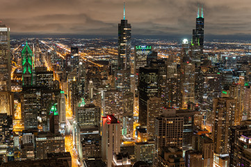 Wall Mural - Chicago skyline at night