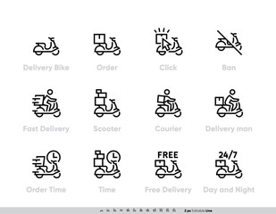 Shipping Fast Delivery icon set. Order, Scooter, Order Time, Free Delivery Pictogram Editable Outline design for apps and websites