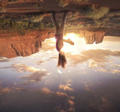 Woman on upside down world