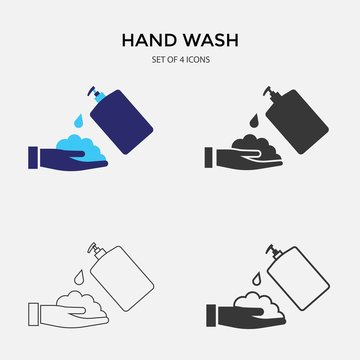 hand wash soap vector icon set liquid hygiene soap to bill bacteria and gems