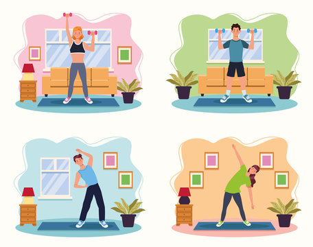 people practicing exercise in the house