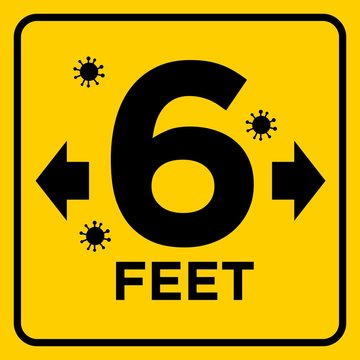 Large 6 Feet Warning Sign COVID 19 Social Distancing Sticker