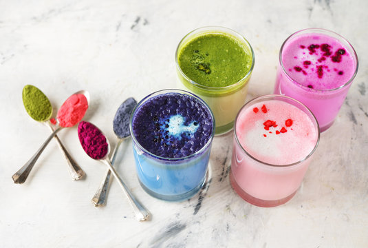 Different types of colored latte