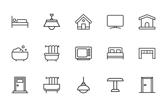 Simple set of house modern thin line icons.
