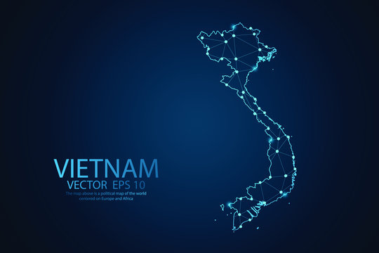 Abstract mash line and point scales on dark background with map of Vietnam. Wire frame 3D mesh polygonal Network line, design sphere, dot and structure. Vector illustration eps 10