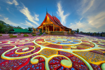 Foto op Plexiglas Bedehuis Beautiful floor pattern as foreground at Sirindhorn Wararam temple (Wat Phu Prao) at Ubonratchathani province in Thailand .