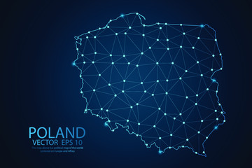 Abstract mash line and point scales on dark background with map of Poland. Wire frame 3D mesh polygonal network line, polygon design sphere, dot and structure. Vector illustration eps 10. Wall mural