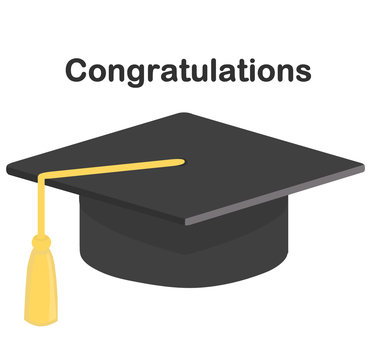 """An illustration of a graduation cap with a yellow tassel with text """"Congratulations"""" isolated on a white background"""