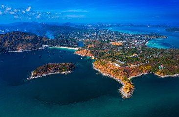Wall Mural - Aerial view of Phuket island in Thailand with its beaches and lagoons
