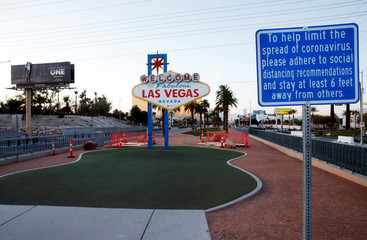 """The normally crowded """"Welcome to Las Vegas"""" sign is shown during the shutdown of all casinos and nonessential businesses to slow the spread of the novel coronavirus in Las Vegas"""