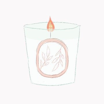 candle, stay at home, scented, illustration, cosy , draw, self care, fire, flowers, leaves, pale, pink, subtle, blue