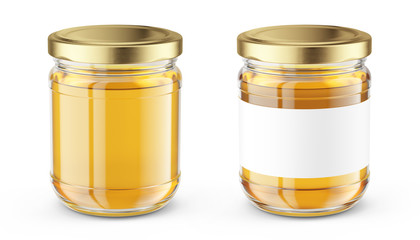 Honey Jar isolated on white - Realistic honey jar mock up. Product placement label design. 3d rendering Fototapete