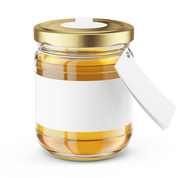 Honey Jar isolated on white - Realistic honey jar mock up. Product placement label design. 3d rendering