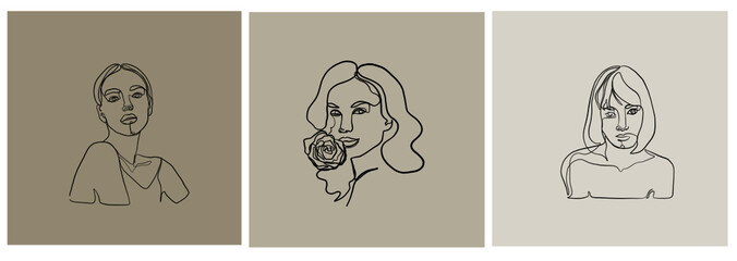 Fototapeta one line woman portrait face, beauty single icon, simple fashion logo, continuous hand drawing art. Female abstract silhouette.