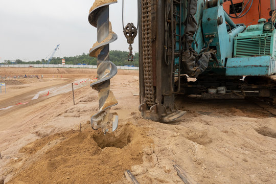 A auger drilling machine at construction site