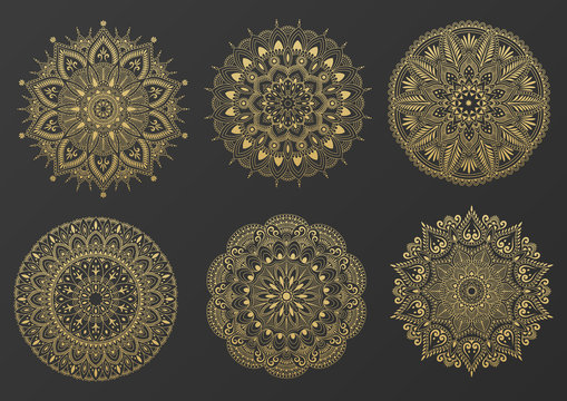 Set of round gold ornament mandala. Mandala with floral patterns. Yoga template. Vector illustration