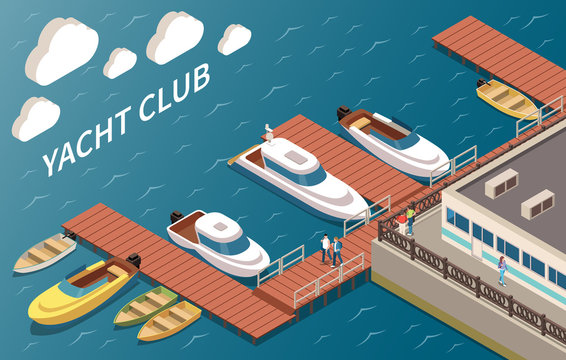Yacht Club Isometric Composition