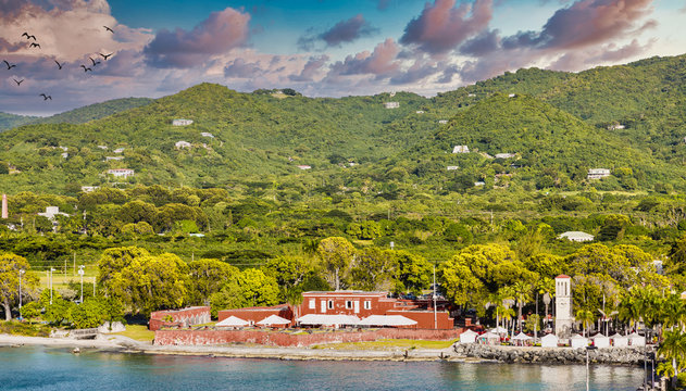 Old red fort on the coast of St Croix