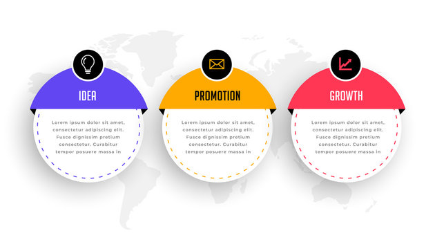 three steps modern infographic for business workflow
