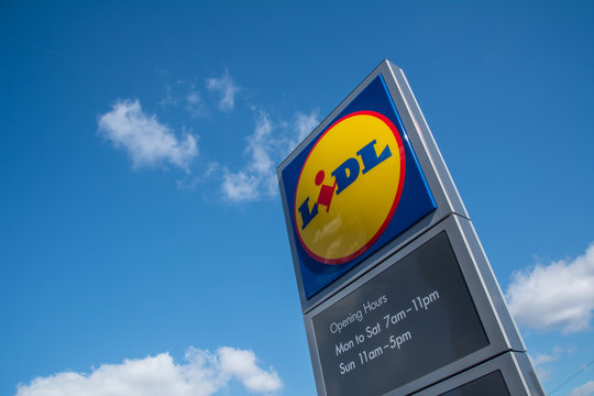 LONDON- MARCH, 2019: Lidl supermarket logo- A German supermarket chain with stores across the UK and Europe