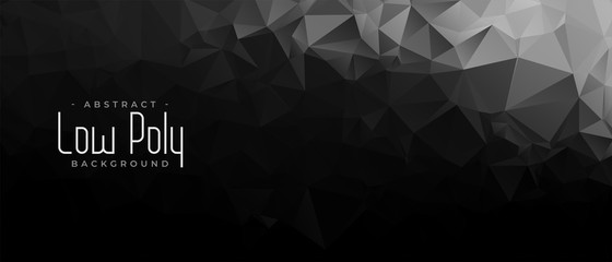 black and dark low poly abstract geometric banner Fototapete