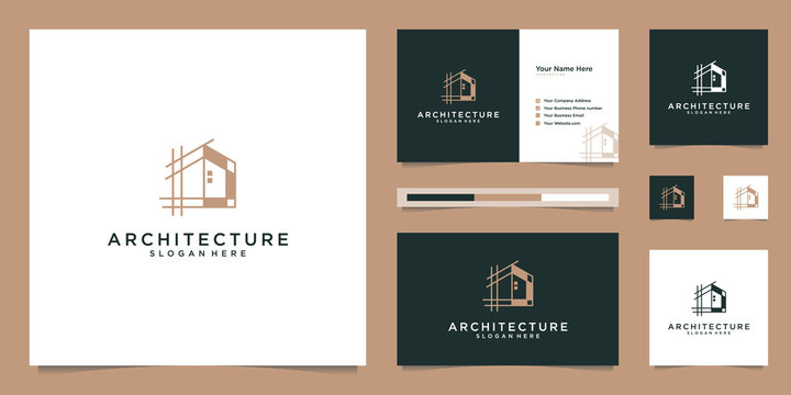 Abstract structure of real estate, building, construction, apartment logo design and business card templates.