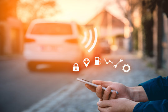 Intelligent car app on smart phone concept